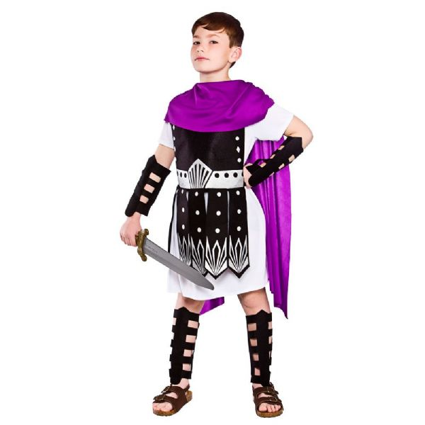Childrens Boys Roman Warrior Costume for Ancient Rome Greek Latin Fancy Dress